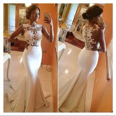 Custom Made 2014 Long Mermaid Dresses With Lace Appliques Sheer Evening Gown All White Dress Party D on Luulla