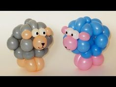 How to make lamb from balloons. Need two 260 balloons. One for legs and muzzle (peach or pink) and another for body (white, blue, or gray). Also need a scrap of white for eyes. It can be a symbol of 2015 year according to chinese calendar. Good luck :)