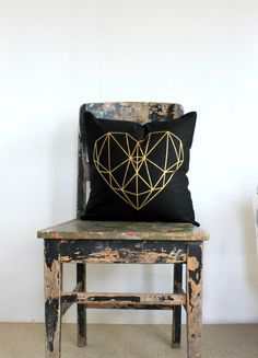 Geometric heart pillow cover, Metallic gold on black cushion cover, gold and black throw pillow, metallic gold decor, teen bedroom decor