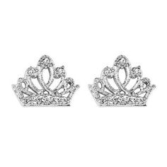 .925 Sterling Silver Rhodium Plated Crown CZ Stud Earrings with Screw-back for Children & Women: Jewelry: Amazon.com