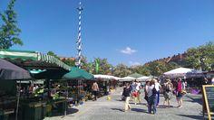 Die üppigen Blumenstände am Viktualienmarkt. Und nicht zu übersehen der Markt-Maibaum