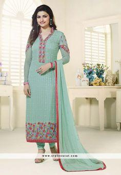 Sea Green Color Prachi Desai Straight Long Salwar Suit