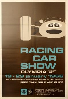 Racing Car Show Olympia, 1965 - original vintage poster listed on AntikBar.co.uk