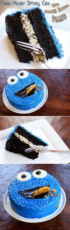 Cookie Monster Birthday Cake with Cookie Dough Filling: Moist, dark chocolate…