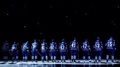 Toronto Maple Leafs players are introduced for their home opener before playing against the Buffalo Sabres in their NHL hockey game, Monday, Jan. in Toronto. (AP Photo/The Canadian Press, Nathan Denette) Nhl Hockey Teams, Hockey Games, Ice Hockey, Tao, Toronto Maple Leafs Wallpaper, Hockey Live, Maple Leafs Hockey, Buffalo Sabres, Living In New York