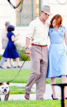 Ryan Gosling & Emma Stone filming The Gangster Squad. I will definately be seeing this movie. I love them!