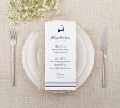Colorful stripes and the Cape Cod icon make these menus perfect for any cape cod wedding! All colors and fonts are customizable