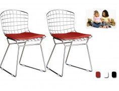 2 Bertoia Kids Chairs Red Pad