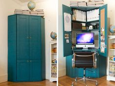 Jordan's Tucked in a Corner Hideaway Armoire Home Office IKEA desk with paint…