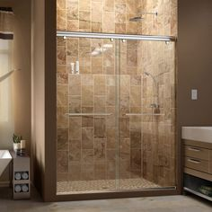 The Charisma shower door has a unique no wall profile design, combining the beauty of frameless glass with the convenience the sliding bypass operation.