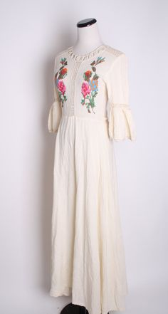 Vintage 1960s Rose Embroidered South West Maxi