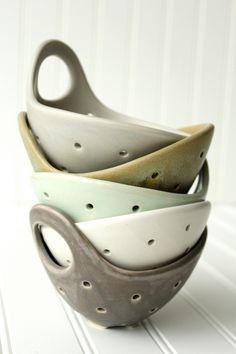 Pottery Berry Bowl with Handle - Small in Charcoal Gray - Ceramic Colander (36.00 USD) by FringeandFettle