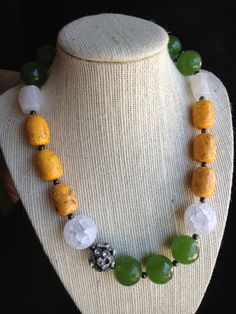 Orange green and white beaded chunky necklace with by terrygoddard, $51.00