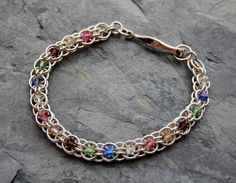 sterling silver chainmail bracelet, Swarovski Crystal Helm link Bracelet