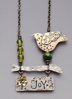 Bird on Branch with Crystal Beads- Joyful Bird on a Branch Necklace- Bird necklace  RP0317NK by riverpathstudio on Etsy https://www.etsy.com/listing/103590786/bird-on-branch-with-crystal-beads-joyful