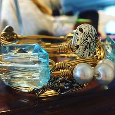 Bourbon and bow ties inspired bangles 4 ocean theme bangles on gold wire. Size regular Jewelry Bracelets