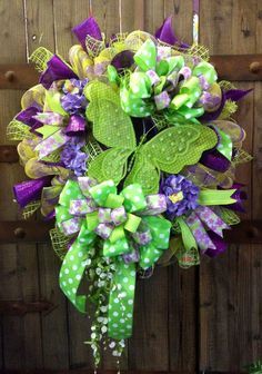 Spring/ summer butterfly wreath by WilliamsFloral on Etsy, $95.00