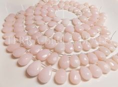 """7"""" natural PINK PERUVIAN OPAL gem stone faceted pear briolette beads 12mm - 17mm #Faceted"""