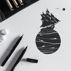 Black Sails. #black #sails #graphic #design #illustration #tattoo #penandink