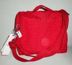 "NWT KIPLING Kichirou Crossbody Lunch Bag Nylon AC7254 Monkey Tango Red  9"" x 8"" #Kipling #MessengerCrossBody"