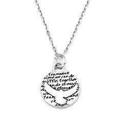 da4aa282e Amazon.com: Kevin N Anna Sea Hawk (Teamwork quote) Sterling Silver Small  Pendant Necklace: Jewelry