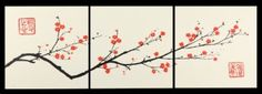 Amazon.com: Set of Three Wall Plaques - Small Size - Cherry Blossom Canvas - Stretch Wall Art - Ready to Hang - Wall Decor: Home & Kitchen