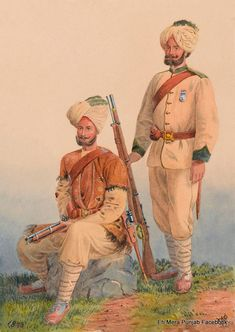 General Roberts' Sikh Orderlies, Dewa Singh and Dehan Singh, Punjab Frontier Force, 1879 British Indian, British Army, Army Uniform, Military Uniforms, Indiana, Royal Engineers, Indian Army, World War One, British Colonial