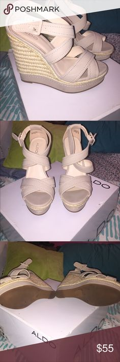 Deavila Wedge Sandals (Aldo shoes) Mint condition comfortable summer wedges. Worn 1x nude color. Perfect for summer/spring Aldo Shoes Wedges