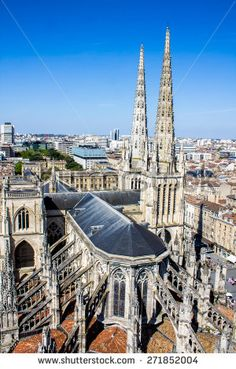Aerial #view of the St. Andrew's Cathedral in #Bordeaux, #France