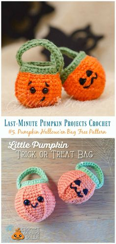 Last-Minute Pumpkin Projects Crochet Free Patterns Bag Crochet, Crochet Wool, Cute Crochet, Crochet Hats, Crocheted Purses, Halloween Arts And Crafts, Halloween Bags, Halloween Party, Halloween Cupcakes