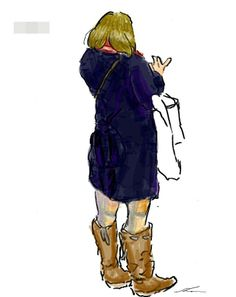 It is a sketch of the woman of dark blue coat.  I drew while commuting on a train with the GALAXY Note.