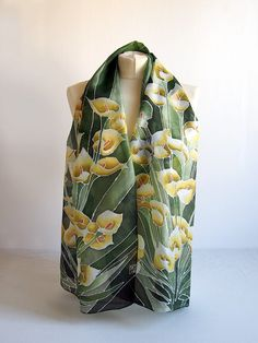 Long Silk Scarf Calia Flowers scarfs   hand painted by MinkuLUL