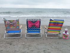 preppy monogram bow beach chair by SouthernPolkaDots on Etsy