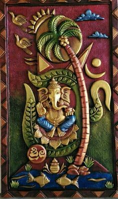 Gülay Konuk Hadimoğlu Clay Wall Art, Mural Wall Art, Mural Painting, Ceramic Painting, Murals, Lord Ganesha Paintings, Ganesha Art, Clay Art Projects, Clay Crafts