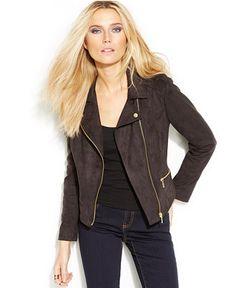 INC International Concepts Faux-Suede Moto Jacket - Jackets & Blazers - Women - Macy's