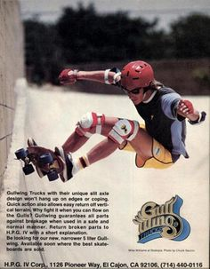Vintage Skateboard Ads from the 70s and 80s.  Great font, seems to move.