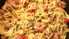 Stir diced ham into a hearty Cheddar cheese sauce with cooked spaghetti, along with chopped pimento and parsley for color. Dinner's ready in about half an hour!