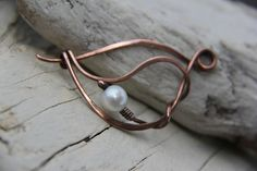 Copper wire wrap brooch shawl pin scarf pin with by Keepandcherish, $25.99