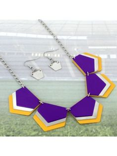 Purple, Yellow, and Silver Layered Geometric Necklace and Earring Set