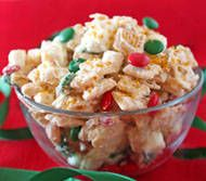 Magical Reindeer Chow is a Christmas candy that appeals to both Santa's reindeer & kids of all ages. Cereal, pretzels, chocolate, and fruit is coated in a white chocolate mixture, then dusted with edible glitter to add the final magical touch. Kids will love munching on this treat and then leaving some out for Rudolph and his friends to enjoy! [click for recipe]