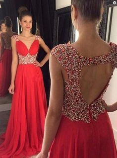A-line prom dresses, beaded prom dresses, open back prom dresses, backless prom dresses, long red prom dresses, chiffon prom dresses, v-neck prom dresses, evening dresses, party dresses#SIMIBridal #promdresses