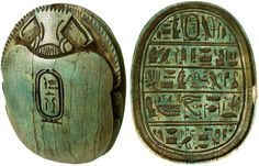 """Carved light green limestone heart scarab -  At the bottom, five lines of hieroglyphics  Egyptian symbolds including an Eye of Horus with a cartouche on the top. Heart scarabs provided the bearer with the assurance that at the final judgment as depicted in the Book of the Dead, the bearer would be found """"True of Voice""""  accepted into the eternal afterlife by the God Osiris. 18th Dynasty  - 1570 - 1342 BC,  3 3/4"""" x 2 1/4"""""""
