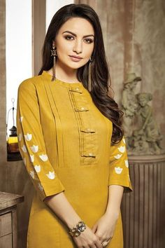 Picture of Yellow and cream casual wear suit Neck Designs For Suits, Sleeves Designs For Dresses, Neckline Designs, Dress Neck Designs, Blouse Designs, Simple Kurti Designs, Stylish Dress Designs, Kurta Designs Women, Stylish Dresses