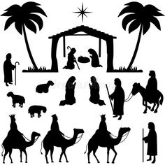 Illustration about Illustration of a nativity scene in silhouette.eps file available with figures separate and editable. Illustration of creche, december, joseph - 1518678 Nativity Crafts, Christmas Nativity, Christmas Art, Christmas Projects, Winter Christmas, All Things Christmas, Holiday Crafts, Christmas Decorations, Christmas Ornaments