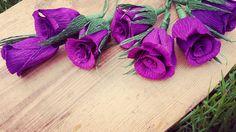 6 pcs Purple Crepe Paper Wedding flowers roses by moniaflowers