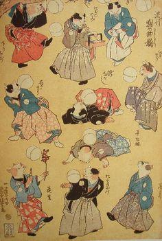 PLAYING BALL GAME BY CATS KUNIYOSHI UTAGAWA 1798-1861 Last of Edo Period