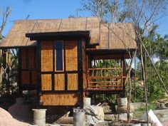 Bamboo House Small Wooden House, Small House Plans, Bamboo Architecture, Architecture Design, Bamboo House Design, Hut House, Sweet Home, House Styles, Bahay Kubo