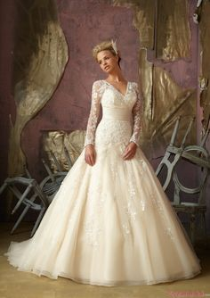 Luxury Princess V Neck Empire Lace Long Sleeves Wedding Dress WD-3050. Is this too big?