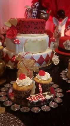Red and white Alice in Wonderland Quinceañera birthday party! See more party ideas at CatchMyParty.com!