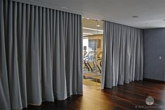 grey, gray, long curtain divider, room separation, yoga studio, fitness room, gym, 75 wall street, new york city
